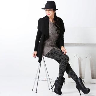 【韓依 HANN.E】台灣製顯瘦版立體絨毛保暖雕塑褲(百搭時尚野性豹紋款G888LE)