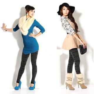 【韓依 HANN.E】台灣製顯瘦版立體絨毛保暖雕塑褲(百搭時尚性感玫瑰款G888RO)