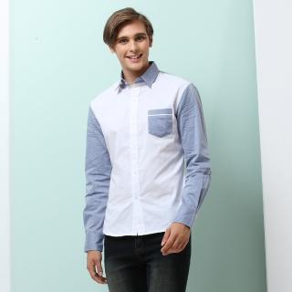 【NBL-NEWBOYLONDON】T0495W白藍色BW藍白色素面拼接長襯衫