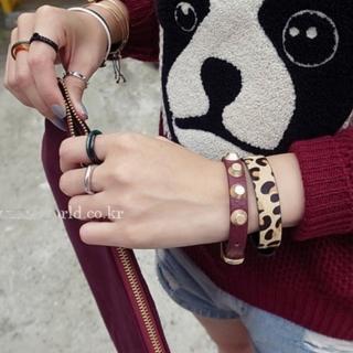 【梨花HaNA】韓國潮人帶鑽鉚釘戒指三件套