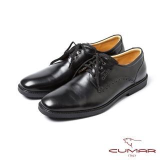 【CUMAR】CUMAR亮面綁帶休閒皮鞋(黑)
