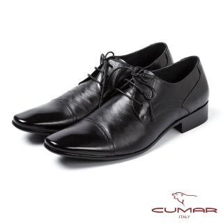 【CUMAR】CUMAR拼接滑面經典皮鞋(黑)