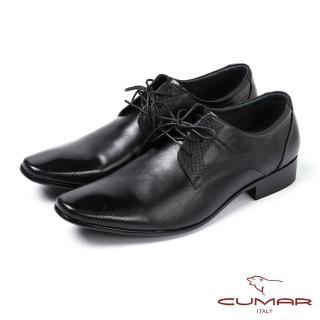 【CUMAR】CUMAR素面點紋簡潔皮鞋(黑)