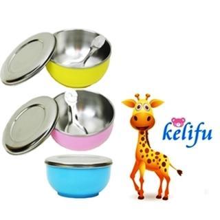 【kelifu可立夫8件組】雙層幼兒隔熱碗/不鏽鋼活動碗蓋附湯匙+密封蓋x2入組(2色隨機出貨)