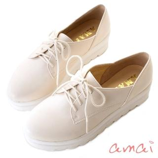 【amai】英倫牛津波浪綁帶厚底鞋(白)