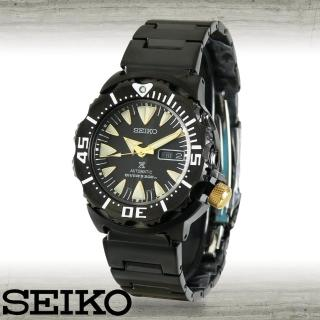 【SEIKO 精工】黑鋼自動上鍊機械錶潛水型200米運動男錶(SRP583K1)
