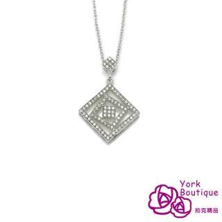 【約克精品】今生纏戀方晶鋯石包銠金項鍊