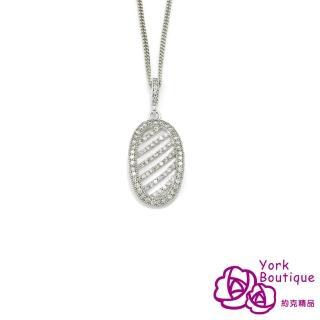 【約克精品】巴黎饗宴方晶鋯石包銠金項鍊