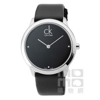 【CK Calvin Klein】Minimal 時尚真鑽皮帶男錶-黑(K3M211CS)