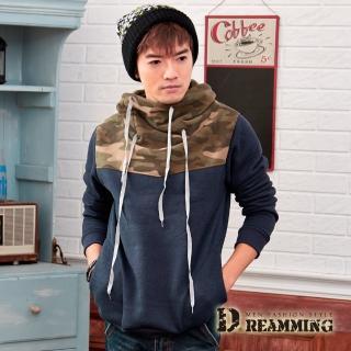 【Dreamming】街頭迷彩拼接厚刷毛立領長T(共二色)