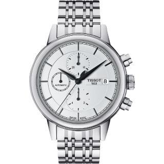 【TISSOT】Carson 經典三眼計時機械腕錶-銀(T0854271101100)