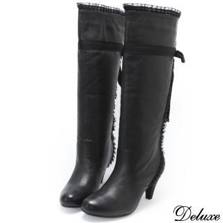 【Deluxe】中跟膝下長靴(蕾絲綁帶   黑)