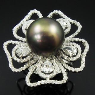 【蕾帝兒珠寶】-掌上明珠黑色貝殼珍珠戒指