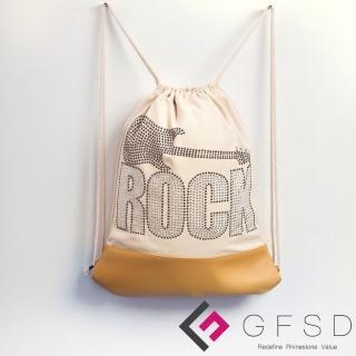 【GFSD璀璨水鑽精品】就是愛搖滾!ROCK&ROLL吉他(搖滾抽繩束口後背包)