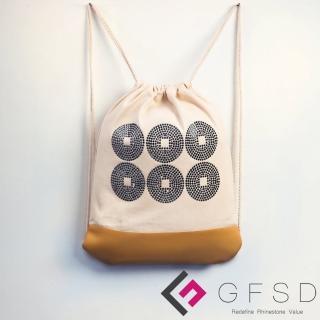 【GFSD璀璨水鑽精品】真田幸村-礦黑(戰國武將家徽抽繩束口後背包)