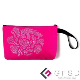 【GFSD璀璨水鑽精品】璀璨牡丹系列手提萬用化妝包(桃紅)