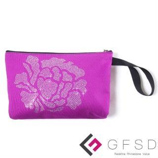 【GFSD璀璨水鑽精品】璀璨牡丹系列手提萬用化妝包(薰紫)