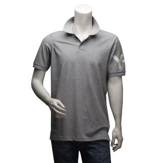 【Y-3 山本耀司】經典LOGO純棉立領短袖POLO衫(淺灰F90739)