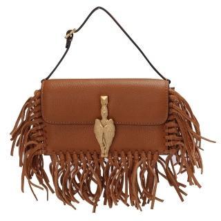 【VALENTINO】金色獅鷲造型小羊皮流蘇磁釦手提包(棕色GWB00713-A06-BEIGE)