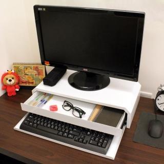 【美佳居】(鐵板製)桌上型-鍵盤+抽屜-螢幕架-2入組(二色可選)