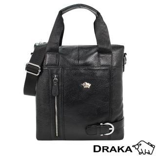 【DRAKA達卡】紳士皮帶扣-直式牛皮手提隨身斜背包(44DK8333634)
