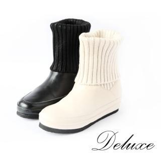 【Deluxe】中筒厚底靴(彈性襪子筒靴 黑白 兩色)