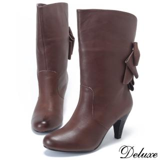 【Deluxe】真皮中跟中靴(大皮蝴蝶結  深咖)