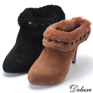 【Deluxe】高跟包頭短靴(性感毛料淺裸踝  黑/咖啡 兩色)