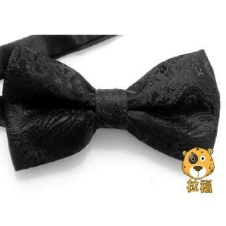 【拉福】腰果花紋質感領結新郎結婚領結糾糾(黑色)