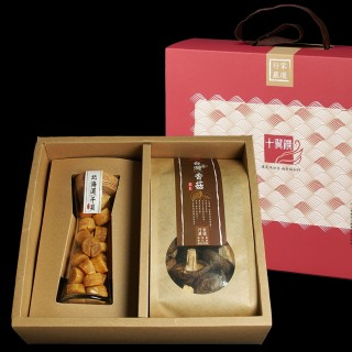 【十翼饌】海陸臻賞禮盒 1盒(新社香菇+北海道干貝)