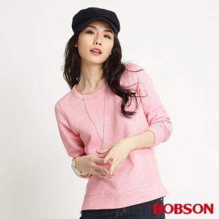 【BOBSON】女款拼接蕾絲長袖上衣(粉34088-11)