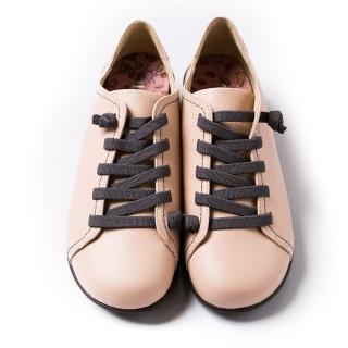 【ALAIN DELON】MIT手工真皮女休閒鞋W7442(2色 黑色 粉色)