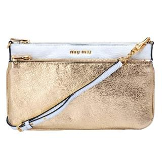 【MIU MIU】MADRAS BICOLORE雙袋兩用子母包(金X白RP0369-BLANC-PLATI)