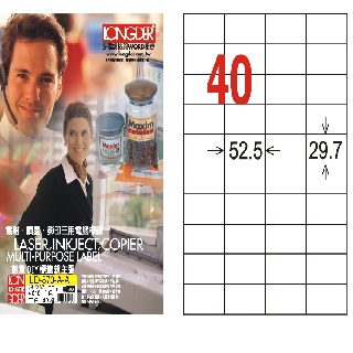 【A4三用標籤紙LD870WA】29.7x52.5mm(白色105張)