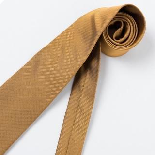 【極品西服】奢華Teflon防潑水100%絲斜紋領帶_ 金色暗壓紋(YT3002)