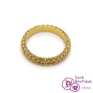 【約克精品】滿星施華洛世奇元素晶鑽包22K黃K金線戒(SGS認證)