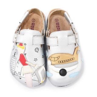 【童鞋城堡】旅行風不對稱真皮柏肯鞋(TE001-銀)