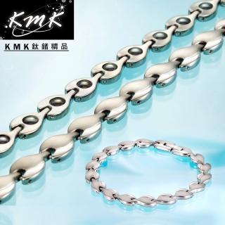 【KMK鈦鍺精品】荷葉風情(純鈦+磁鍺健康手鍊、項鍊套組)