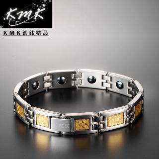 【KMK鈦鍺精品】經典黃金格紋(純鈦+金箔+磁鍺健康手鍊)