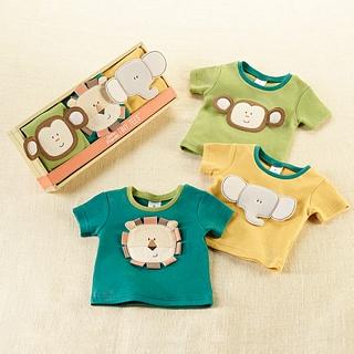 【BabyAspen】BAS 小動物短袖上衣3件組 彌月禮組(#BA16042NA)
