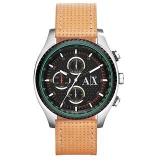 【AX Armani Exchange】急速車手計時腕錶-綠黑x淺褐皮帶(AX1608)