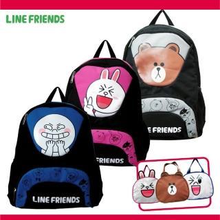 【LINE FRIENDS】雙層書背包+造型便當袋(無辜熊大/饅頭人/可愛兔兔)