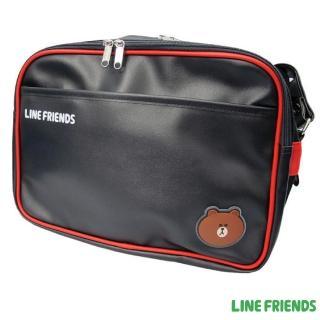 【LINE FRIENDS】休閒皮質側背包(黑紅_無辜熊大)