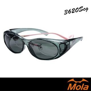 【MOLA 摩拉】近視/老花眼鏡族可戴-時尚偏光太陽眼鏡 套鏡 鏡中鏡(3620Scg)