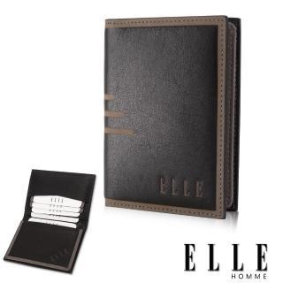【ELLE HOMME】法式精品名片皮夾橫條壓紋 嚴選頭層皮、置物名片格層設計(黑EL81866-02)