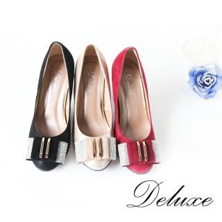 【Deluxe】包頭高跟鞋(優雅水晶點綴金屬層次  三色)