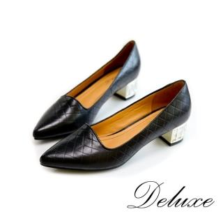 【Deluxe】尖頭低跟鞋(千格紋水晶跟 黑)