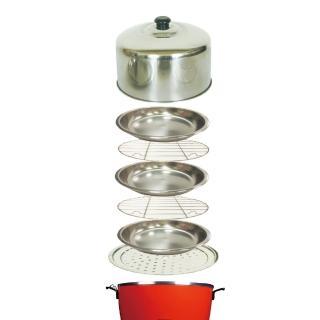 【馬蓋掀】304款不鏽鋼萬用鍋蓋7件組(3蒸盤2蒸架1大萬用蒸盤1大鍋蓋)