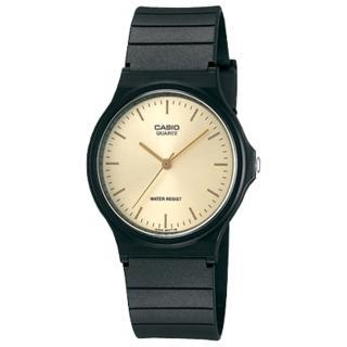 【CASIO 卡西歐】CASIO 極簡時尚指針石英錶-金面/35mm(MQ-24-9ELDF)