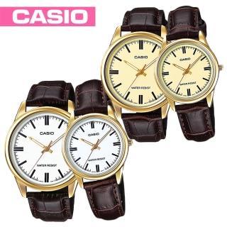 【CASIO 卡西歐】送禮首選-甜蜜情侶浪漫對錶(MTP-V005GL+LTP-V005GL)